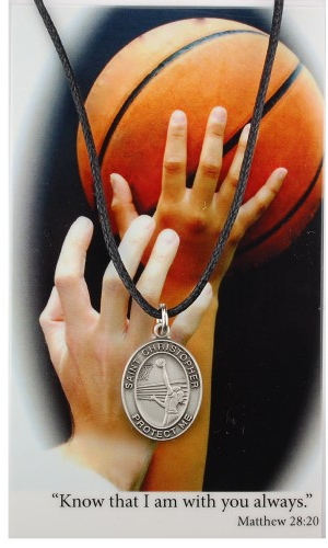Sport Medal St Christopher Basketball Women 3/4 inch Pewt Silver