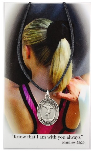 Sport Medal St Christopher Gymnastics Women 3/4 inch Pewt Silver