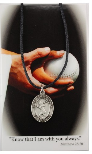 Sport Medal St Christopher Softball Women 3/4 inch Pewter Silver