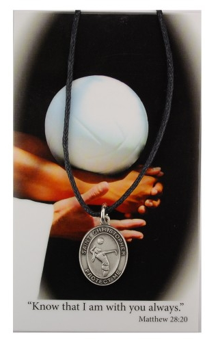 Sport Medal St Christopher Volleyball Women 3/4 inch Pewt Silver