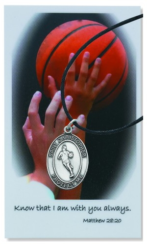 Sport Medal St Christopher Basketball Men 1 inch Pewter Silver