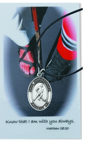 Sport Medal St Christopher Ice Hockey Men 1 inch Pewter Silver