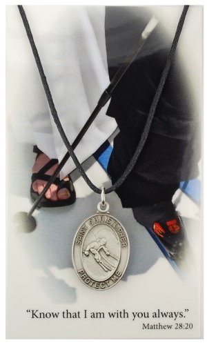 Sport Medal St Christopher Skiing Men 1 inch Pewter Silver