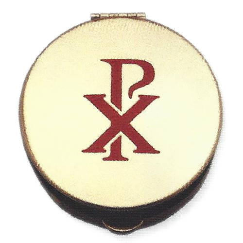 Pyx Chi-Rho Stamped Red Plated Brass Large