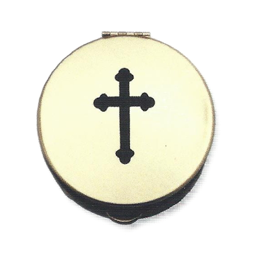 Pyx Cross Stamped Black Plated Brass Small