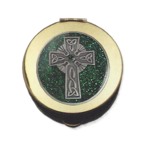 Pyx Enameled Pewter Celtic Cross Polished Brass Small