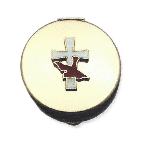 Pyx Enameled Gold Cross Dove Polished Brass Small