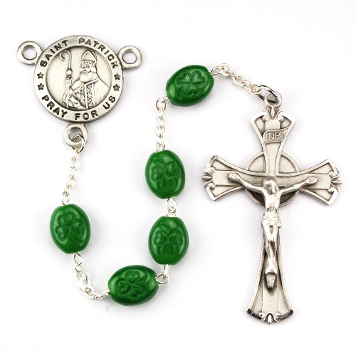 Rosary St Patrick Medal Pewter Silver Green Shamrock Beads