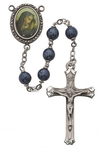 Rosary Mary Our Lady of Sorrows Pewter Silver Blue Pearl Beads