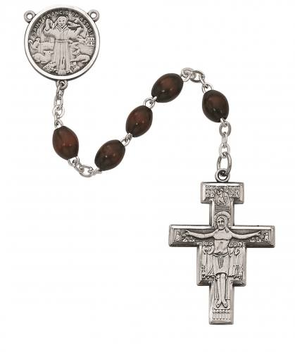 Rosary St Francis Assisi Medal Pewter Silver Brown Wood Beads