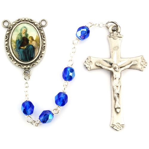Rosary St Anne Pewter Silver Blue Crystal Beads