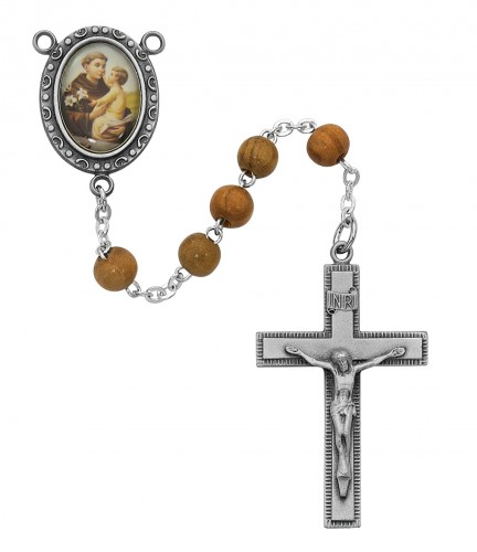 Rosary St Anthony Padua Pewter Silver Olive Wood Beads