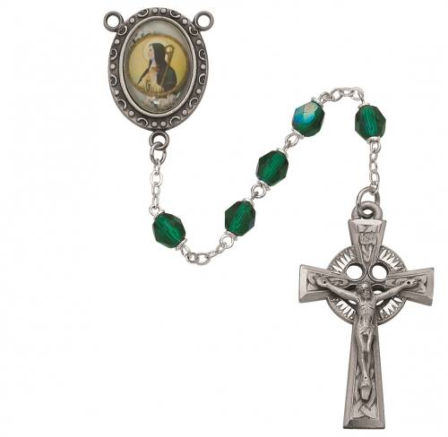 Rosary St Brigid of Kildare Pewter Silver Green Crystal Beads