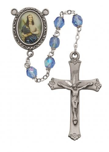 Rosary St Cecilia Pewter Silver Blue Crystal Beads
