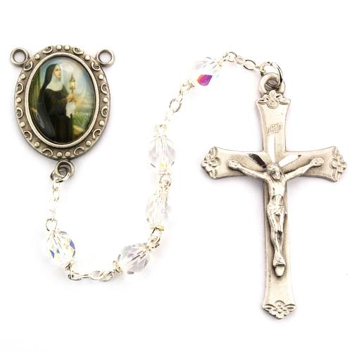 Rosary St Clare of Assisi Pewter Silver Clear Crystal Beads
