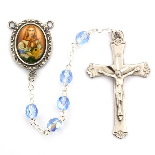 Rosary St Dymphna Pewter Silver Blue Crystal Beads