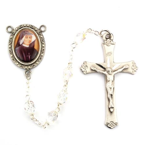 Rosary St Faustina Pewter Silver Clear Crystal Beads