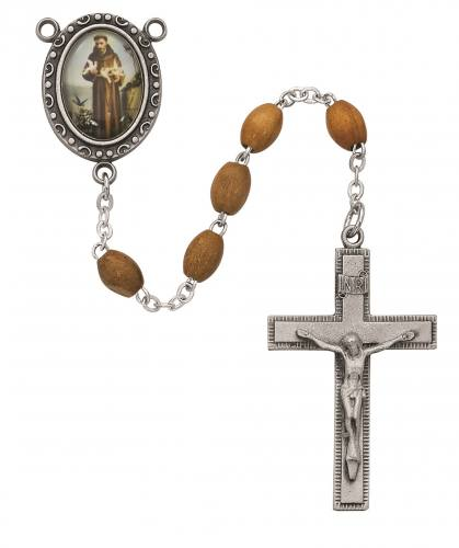Rosary St Francis Assisi Pewter Silver Olive Wood Beads