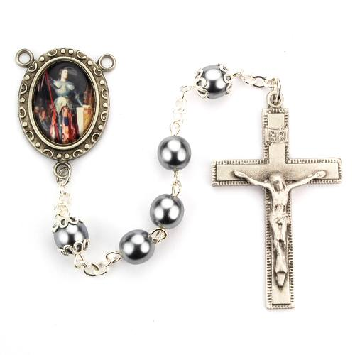 Rosary St Joan of Arc Pewter Silver Hematite Beads
