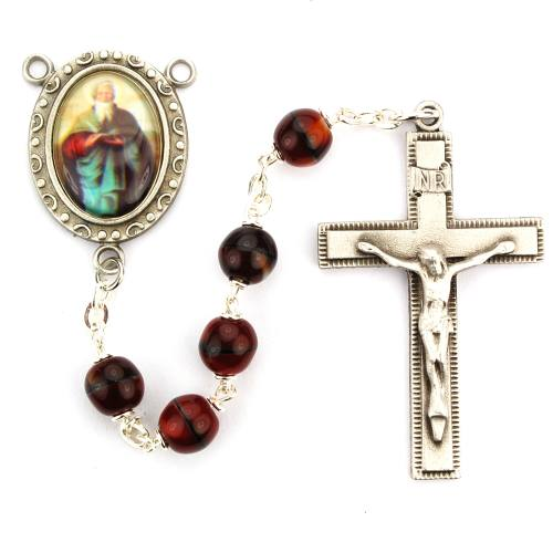 Rosary St Matthew Evangelist Pewter Silver Red Glass Beads
