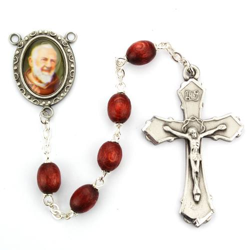Rosary St Padre Pio Pewter Silver Brown Wood Beads