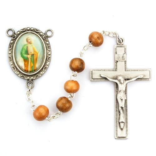Rosary St Paul Apostle Pewter Silver Olive Wood Beads
