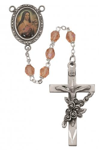 Rosary St Therese Lisieux Pewter Silver Pink Crystal Beads