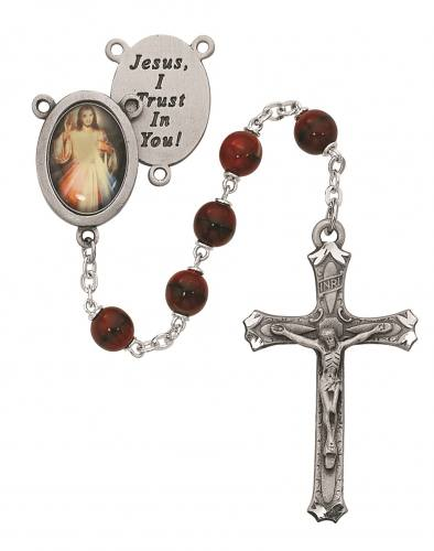 Rosary Jesus Divine Mercy Pewter Silver Red Marble Beads