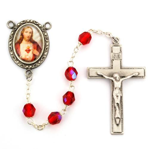 Rosary Jesus Sacred Heart Pewter Silver Red Crystal Beads