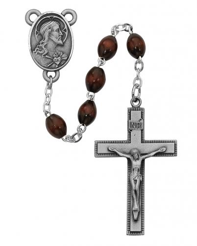 Rosary Sacred Heart Medal Pewter Silver Brown Wood Beads