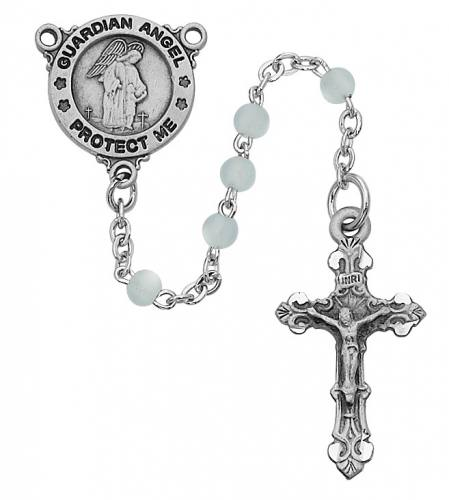 Rosary Baptism Guardian Angel Medal Pewt Silver Blue Glass Beads