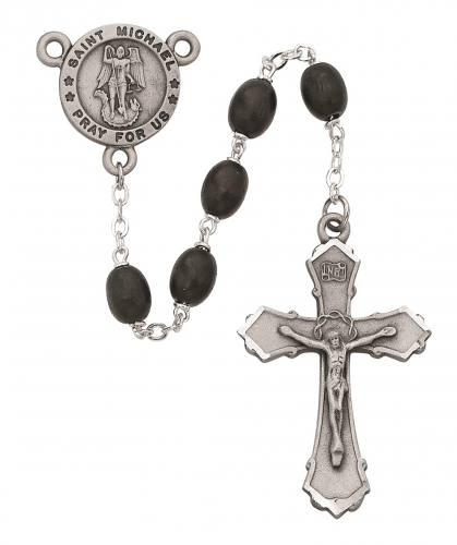 Rosary St Michael Archangel Medal Pewter Silver Black Wood Beads