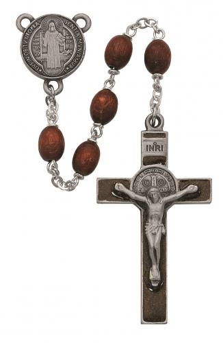 Rosary St Benedict Medal Pewter Silver Enameled Brown Wood Beads