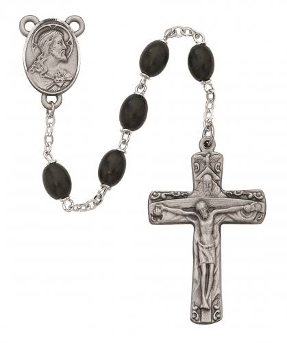 Rosary Sacred Heart Medal Trinity Pewter Silver Black Wood Beads