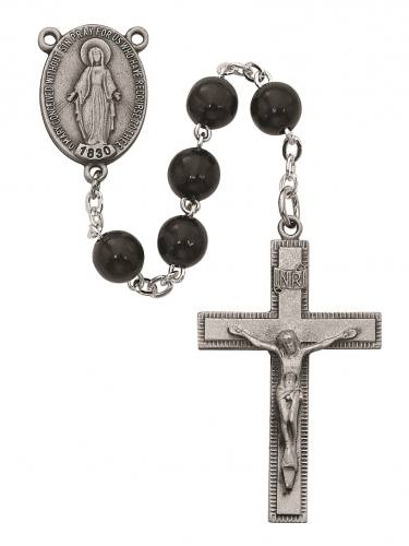Rosary Miraculous Medal Pewter Silver Black Wood Beads