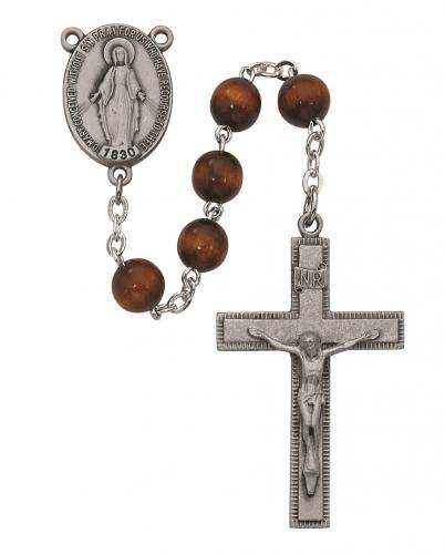 Rosary Miraculous Medal Pewter Silver Brown Wood Beads