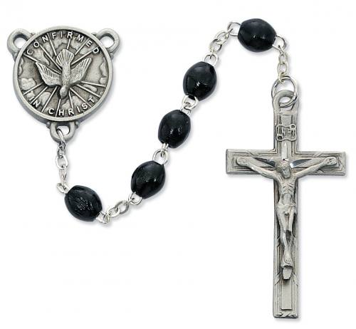 Rosary Confirmation Medal Pewter Silver Black Wood Beads