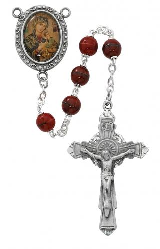 Rosary Mary Our Lady Perpetual Help Pewt Silver Red Marble Beads
