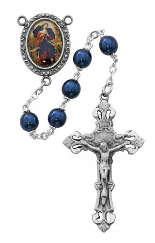 Rosary Mary Our Lady Undoer Knots Pewter Silver Blue Pearl Beads
