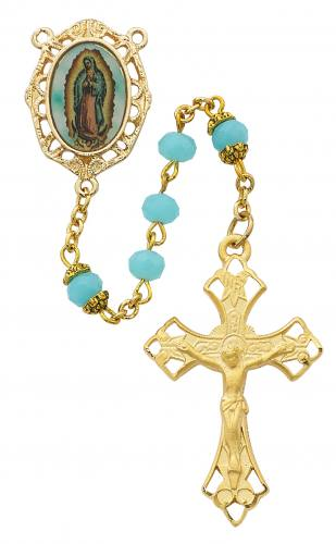 Rosary Mary Our Lady Guadalupe Pewter Gold Aqua Crystal Beads