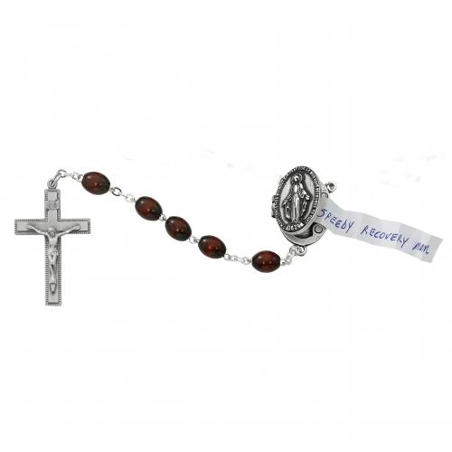 Rosary Miraculous Medal Prayer Petition Pewter Brown Wood Beads
