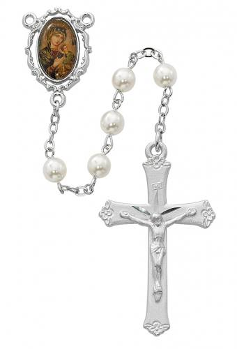 Rosary Mary Our Lady Perpetual Help Pewter Glass Pearl Beads