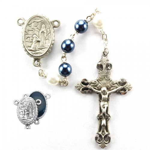 Rosary Mary Lourdes Water Pewter Silver Blue & White Pearl Beads