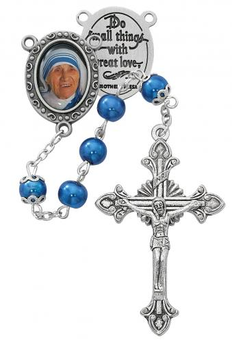Rosary St Mother Teresa Calcutta Pewter Silver Blue Pearl Beads