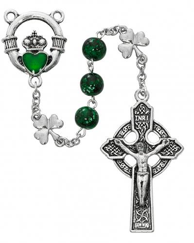 Rosary Claddagh Shamrock Oxidized Silver Green Glass Beads