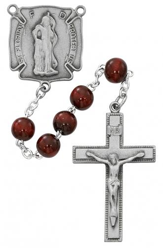 Rosary St Florian Firefighter Pewter Silver Red Wood Beads
