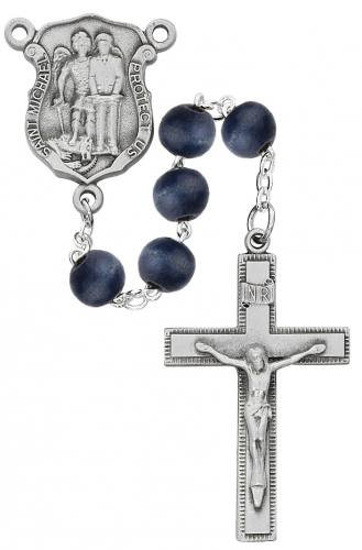 Rosary St Michael Archangel Police Pewter Silver Blue Wood Beads