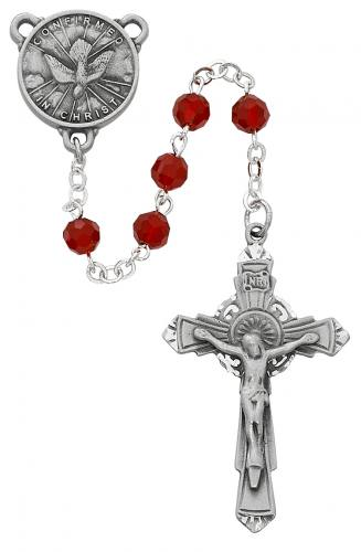 Rosary Confirmation Medal Pewter Silver Red Crystal Beads