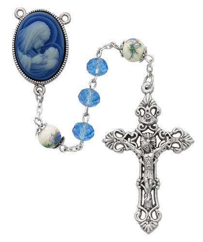 Rosary Mother & Child Oxidized Silver Blue Crystal Beads