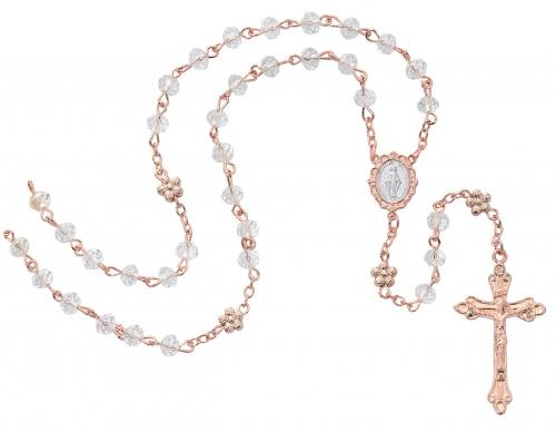 Rosary Miraculous Medal Rose Gold Crystal Beads